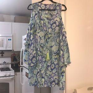 Lilly pulitzer Benicia colder shoulder dress large